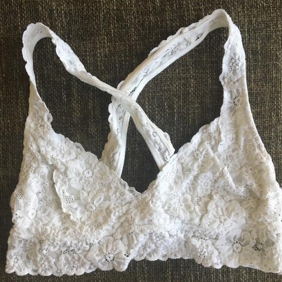Bra ~ Bralette Crochet Lace Aerie Criss Cross Back Pink